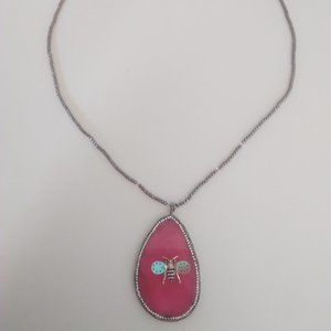 Betsey Johnson New Hot Pink Bumblebee Necklace